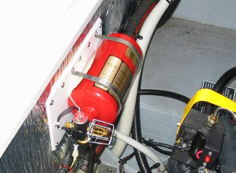 where should fire extinguishers be stored on a boat